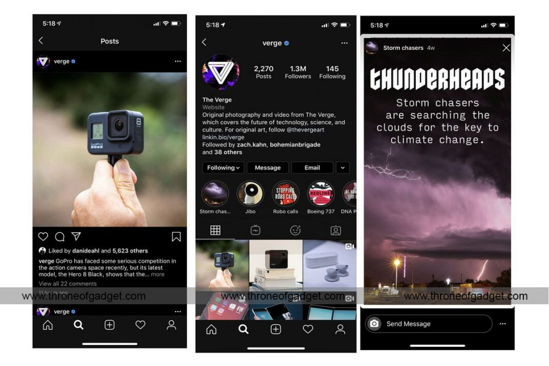 enable dark mode in Instagram